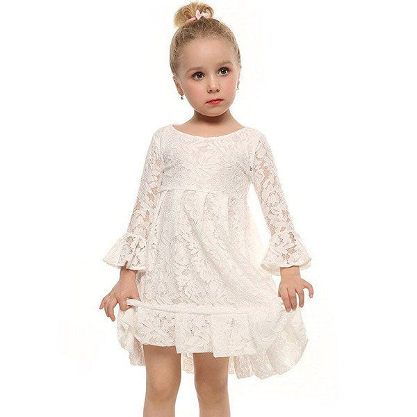 Girls' Solid Going Out Long Sleeve Dresses (30135284937)