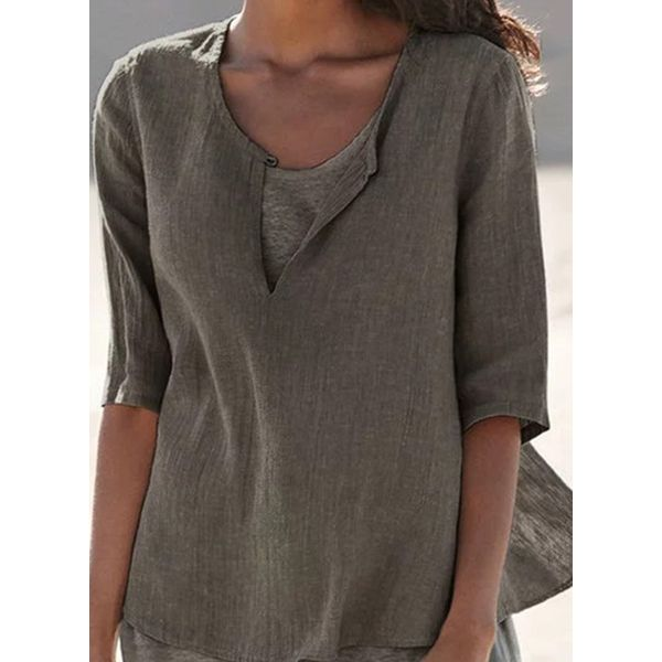 Solid Casual Round Neckline Half Sleeve Blouses (1645571940)