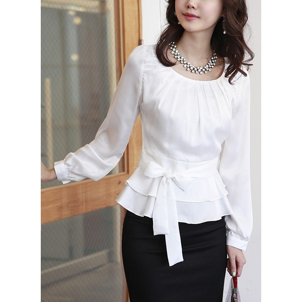 Solid Casual Others Long Sleeve Blouses (1645146011) 1