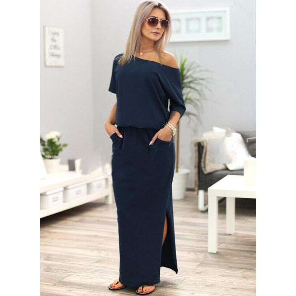 Solid Pockets 3/4 Sleeves Maxi X-line Dress (1955381925) 3