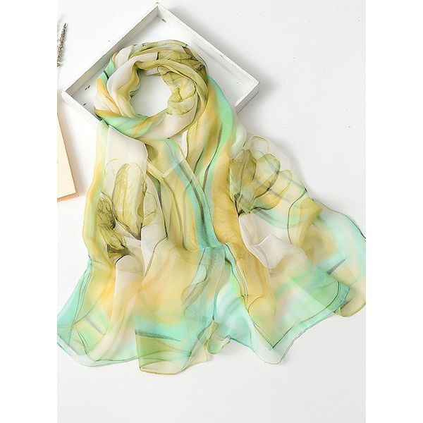 Casual Floral Scarves (1775343114, Green