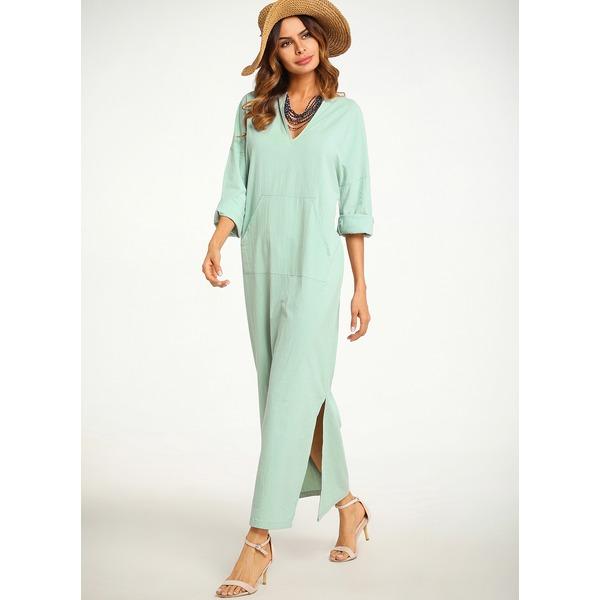 Chinese Casual Solid None V-Neckline A-line Dress (01955216798)