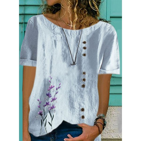 Floral Casual Round Neckline Short Sleeve Blouses (1645598813)