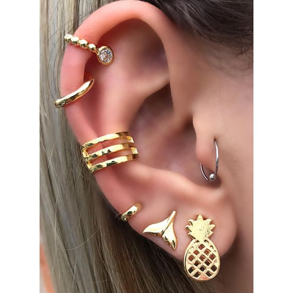 Club Floral Round No Stone Stud Earrings (1855568023)
