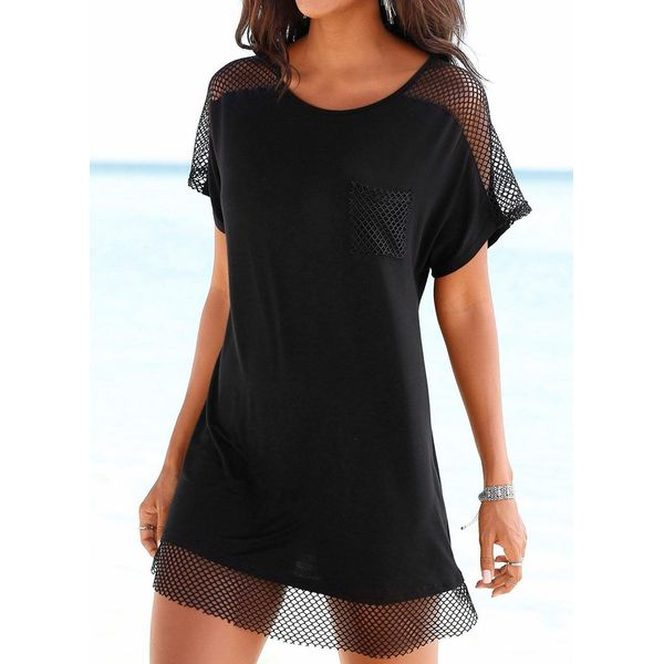 Plus Size Polyester Solid Mesh Cover-Ups Swimwear (30015415994, Black
