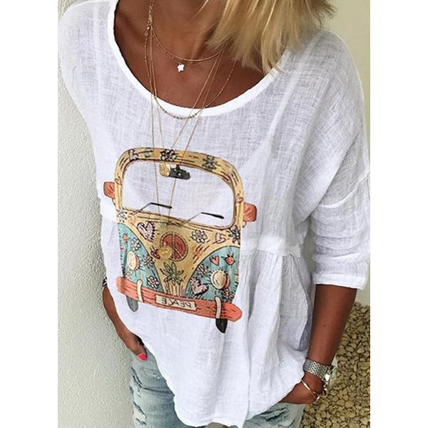 Plus Size Character Round Neckline Casual Shift Blouses 3/4 Sleeves Plus Blouses (1645427319)