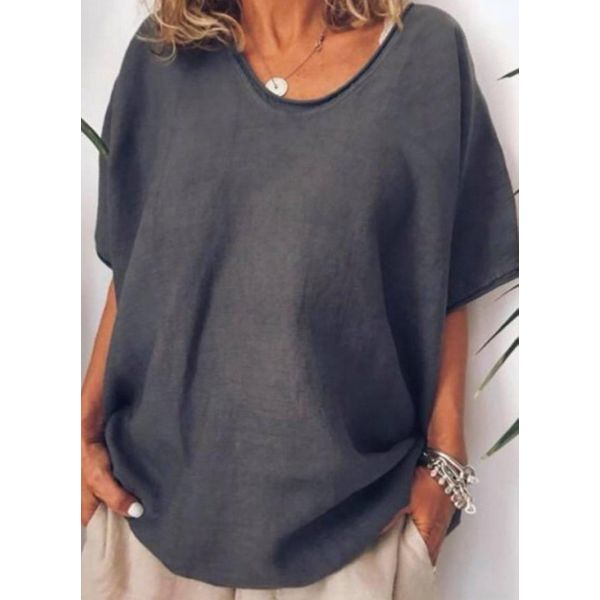 Plus Size Solid V-Neckline Casual A-line Blouses 3/4 Sleeves Plus Blouses (30355586872)