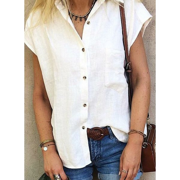 Solid Casual Collar Short Sleeve Blouses (1645567420)