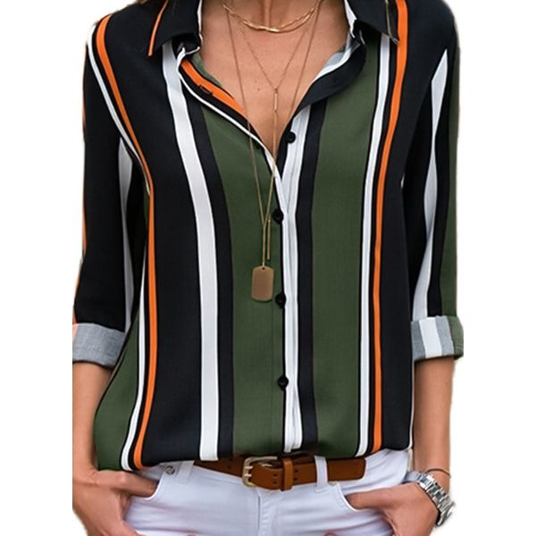 Stripe Casual Collar Long Sleeve Blouses (1645366030, Military green