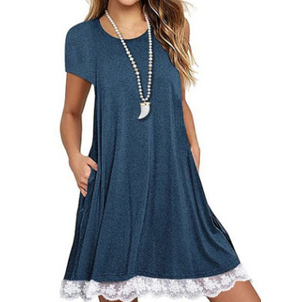 Casual Solid Lace Round Neckline A-line Dress (1955551129)