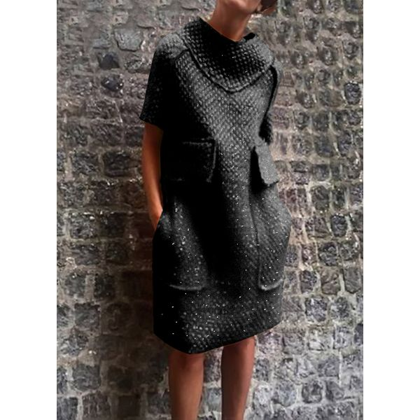 Casual Solid Pockets Sweater Shift Dress (01955344092)