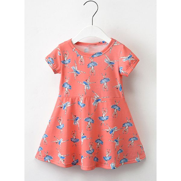 Girls' Casual Character Daily Short Sleeve Dresses (30135380857) 6