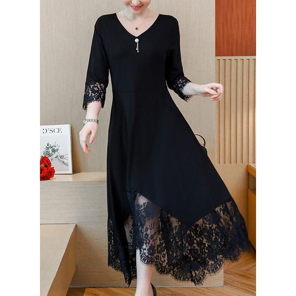Solid Lace 3/4 Sleeves Maxi Dress (1955367730) 2
