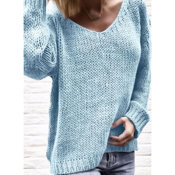 V-Neckline Solid Loose Long Shift Sweaters (1675365677) 10