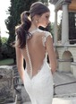 Trumpet/Mermaid V-neck Court Train Tulle Lace Wedding Dress With Beading (0025091382)