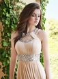 A-Line/Princess Scoop Neck Floor-Length Chiffon Prom Dress With Ruffle Beading (0185059658)