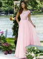 A-Line/Princess Scoop Neck Sweep Train Chiffon Prom Dress With Lace Beading (0185093458)