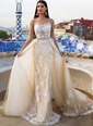 Sheath/Column Scoop Neck Cathedral Train Lace Wedding Dress With Lace Appliques Lace (0025132155)