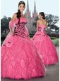 Ball-Gown Strapless Floor-Length Organza Satin Quinceanera Dress With Lace (02105024551)