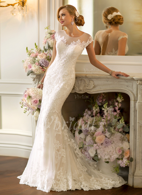 Trumpet Mermaid Scoop Neck Court Train Lace Wedding Dress With Appliques Lace 0025093180 Vbridal