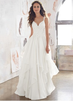 A-Line/Princess V-neck Sweep Train Chiffon Lace Wedding Dress With Lace Appliques Lace Cascading Ruffles (0025132150)