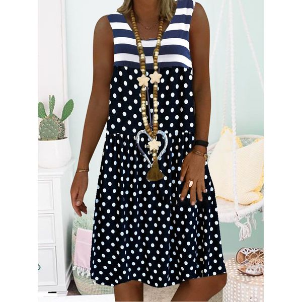 FloryDay / Casual Polka Dot Round Neckline Knee-Length A-line Dress (1955547450)
