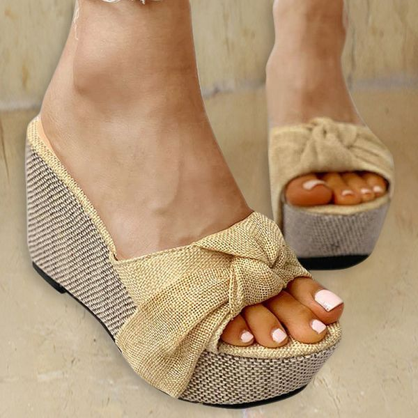 Airycloth coupon: Women's Cloth Wedge Heel Platforms Slippers (1625586698)