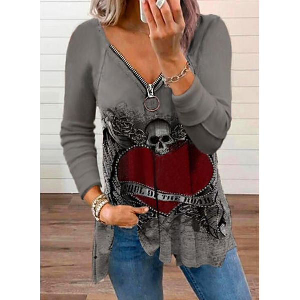 Alphabet V-Neckline Long Sleeve Blouses (1645800425) - Gray / S, FloryDay, Apparel & Accessories, Clothing  - buy with discount