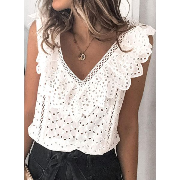 Airycloth coupon: Solid Casual V-Neckline Sleeveless Blouses (1645613565)