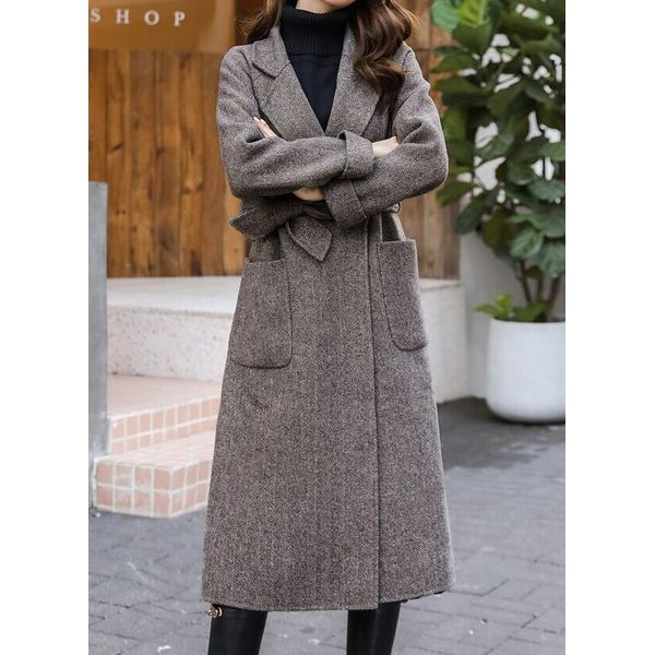 Green Monday Long Sleeve Lapel Pockets Trench Coats (1715514567, Brown