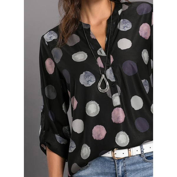 Airycloth coupon: Polka Dot Casual Stand Collar Long Sleeve Blouses (01645318663)