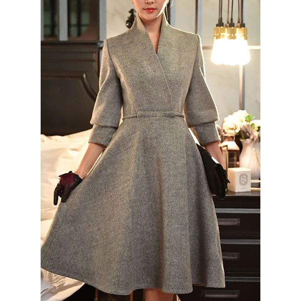FloryDay / Solid Long Sleeve Midi X-line Dress (1955366621)