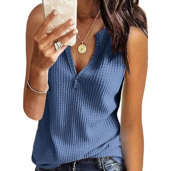 Solid V-Neckline Sleeveless T-shirts (1685585275) - Blue / L, FloryDay, Apparel & Accessories, Clothing, Shirts & Tops  - buy with discount