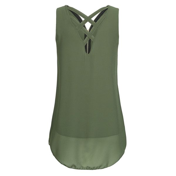 Plus Size Solid Casual V-Neckline Sleeveless Blouses (1645425154, Black;pink;dark blue;military green
