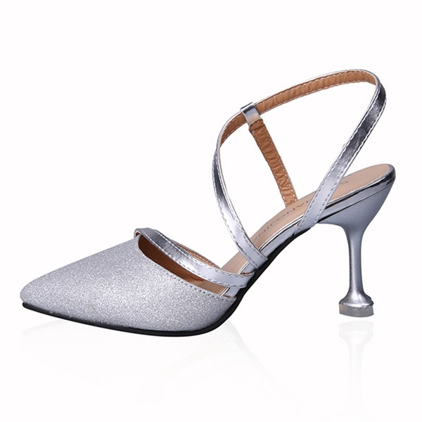 Pointed Toe Spool Heel Shoes (1625305041), Silver;gold