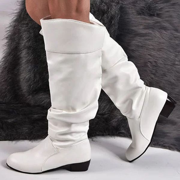Women's Knee High Boots Low Heel Boots (1625438759, White