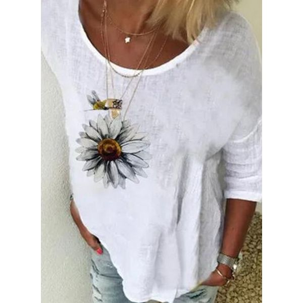 FloryDay / Floral Casual Round Neckline 3/4 Sleeves Blouses (1645593471)