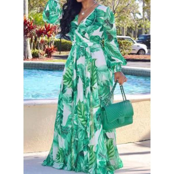Chic Floral V-Neckline Maxi X-line Dress (1955583241, Green;serpentine