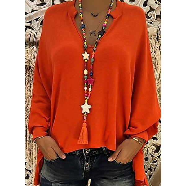 Plus Size Solid Casual V-Neckline Long Sleeve Blouses (1645382985, Black;yellow;orange