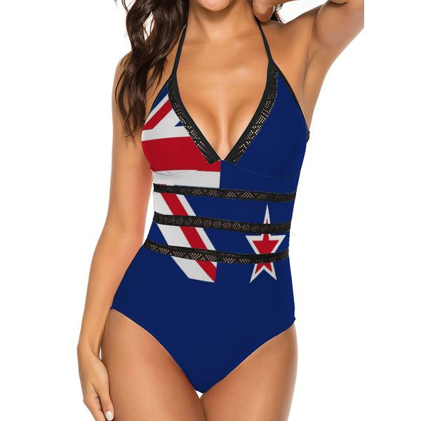 Nylon Halter Pattern One-piece Swimwear (30015572959, Black;white;blue;yellow;off-white;orange