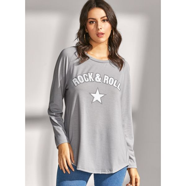 Airycloth coupon: Alphabet Casual Round Neckline Long Sleeve Blouses (1645458796)