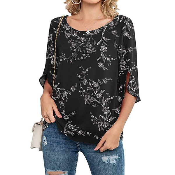 FloryDay / Floral Casual Round Neckline 3/4 Sleeves Blouses (1645725819)