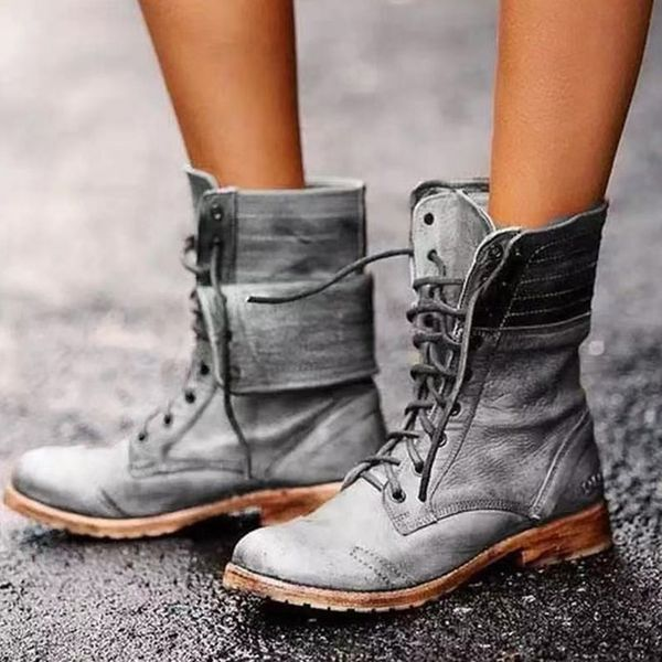 Women's Lace-up Low Heel Boots (1625806832) - Gray / EU 40/40.5 (Label Size 41), FloryDay, Apparel & Accessories, Shoes  - buy with discount