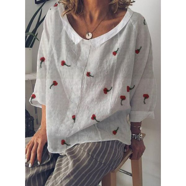 Floral Casual Round Neckline Long Sleeve Blouses (1645495586, White