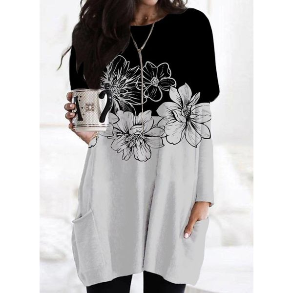 Floral Tunic Round Neckline Above Knee Shift Dress (1955792502) - Light Gray / XXL, FloryDay, Apparel & Accessories, Clothing, Dresses  - buy with discount