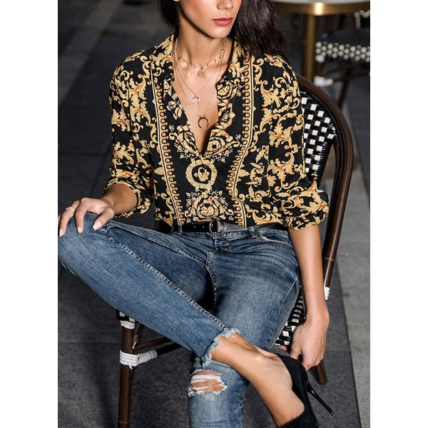Airycloth coupon: Floral Elegant Collar Long Sleeve Blouses (01645372844)