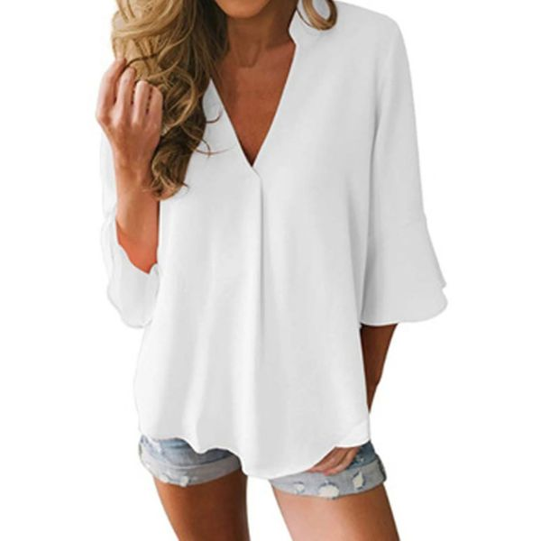 Airycloth coupon: Solid Casual V-Neckline 3/4 Sleeves Blouses (1645577670)