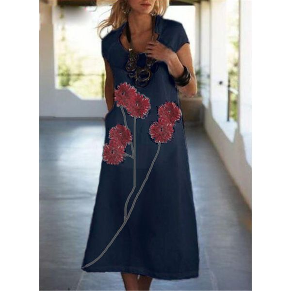 Casual Floral Tunic V-Neckline A-line Dress (1955598459, Light gray;white;dark blue;dark gray;serpentine