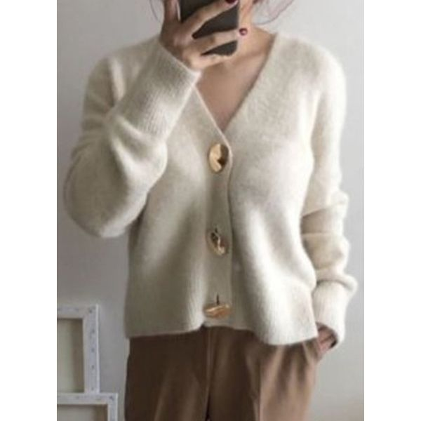Green Monday Long Sleeve V-neck Buttons Sweaters Coats (1715524478, Off-white;khaki
