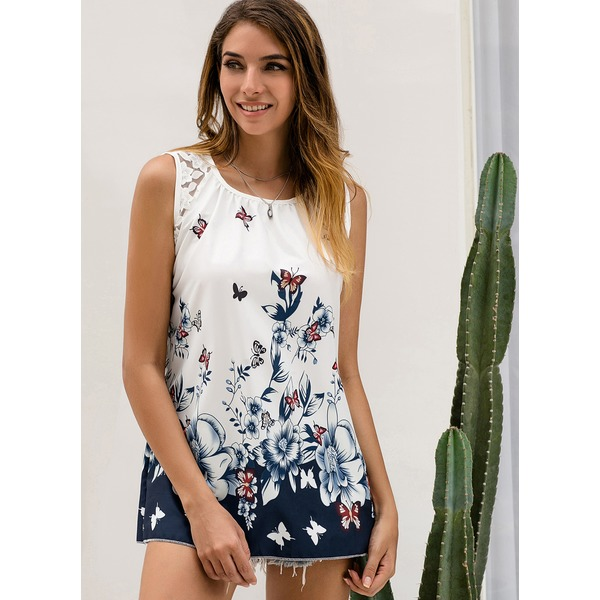 Floral Casual Round Neckline Sleeveless Blouses (01645325447), FloryDay, Sky Blue, White, Apparel & Accessories, Clothing  - buy with discount